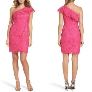 ELIZA J PINK Ruffle ONE SHOULDER Lace SHEATH DRESS